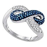 Jewels by Lux - Anillo infinito de oro blanco de 10 quilates para mujer, redondo, color azul