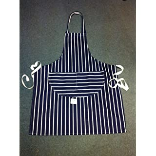 AUK DC830-B Caterers Apron, Striped, Blue/White