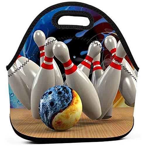 Viele Bowling Lunch Bag wasserdicht isoliert Neopren Lunchbox Mittagessen Einkaufstasche Schule Picknick Tragetasche Organizer
