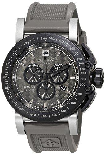 Zodiac ZMX ZO8522del hombre 'Racer' reloj de acero inoxidable con banda de goma gris