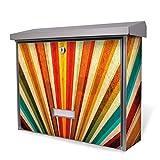 BURG-WÄCHTER Edelstahl Briefkasten, Motivbriefkasten Modell Secu Line 31,5 x 38,5 x 11,5cm, Design Briefkasten mit Motiv Sonnenuntergang Abstrakt