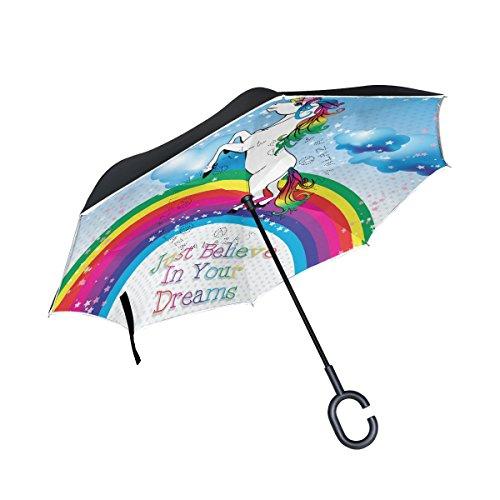 mydaily doble capa paraguas invertido coches Reverse paraguas, diseño de unicornio y arco iris resistente al viento UV prueba de viaje al aire libre Paraguas