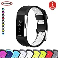 FunBand® for Fitbit Charge 2 Strap Bands, Easy Adjust Breathable with Ventilation Holes Soft Silicone Sport Replacement Accessory Bracelet Straps (Small or Large Size) for Fitbit Charge 2 Fitness Activity Wristband (1-Pack Black-White)