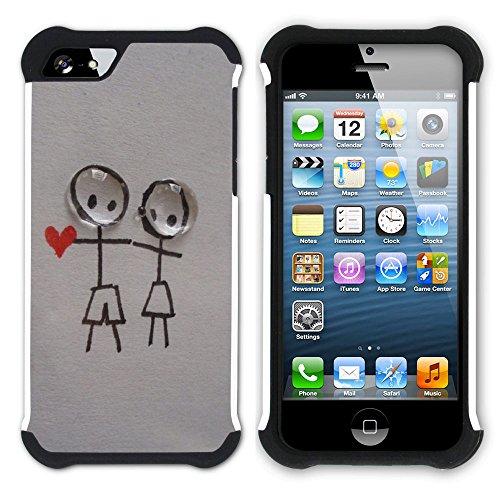 Graphic4You Liebe Herz Hart + Weiche Kratzfeste Hülle Case Schale Tasche Schutzhülle für Apple iPhone SE / 5 / 5S Design #27