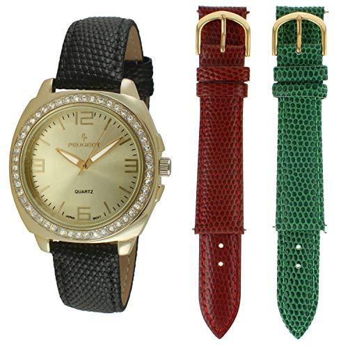 Peugeot - Set regalo di 3 orologi intercambiabili con cinturino in pelle e lunetta in cristallo