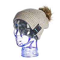 MATANA Wireless Bluetooth Winter Hat with Stereo Speaker Headphones & Microphone Double Knitted Beanies Music Cap - Compatible & Easy to Pair with any Bluetooth Device Grey