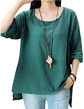 PengGeng Mujeres Transpirable Cuello Redondo Tops Color Sólido Manga Larga Camiseta
