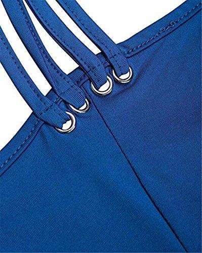Ibelive Débardeur - Uni - Femme Bleu