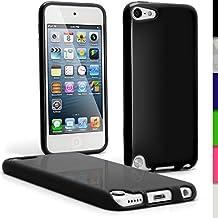 igadgitz Negro TPU Gel Funda Carcasa para Apple iPod Touch 6G 6th Generación (Julio 2015) & 5G 5th Generación (2012-2015) Case Cover + Protector de pantalla
