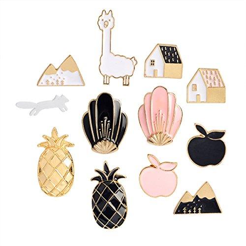 Yalulu 12pcs ananas apple alpaca fox fiori case di metallo carino smalto pin set gioielli accessori