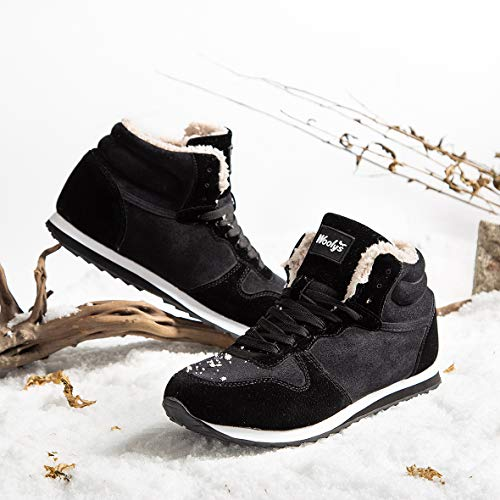 Gaatpot Herren Damen Stiefel Schneestiefel Hohe Sneaker Warm gefütterte Schnürstiefel Schuhe Schwarz EU 42.5 = CN 44