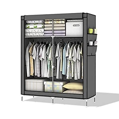 Intirilife – Lockable Non-Woven Fabric Wardrobe with Clothes Rail, Side Pockets and other Storage Options in the Dimensions 170 cm x 108 cm x 54 cm – Cupboard Closet Foldable Shelf - cheap UK light shop.