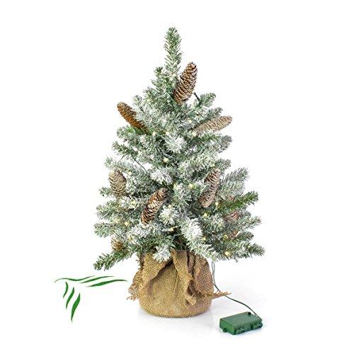Mini-Christbaum WIEN mit LEDs im Jutesack, beschneit, 60 cm, Ø 40 cm - Tannenbaum Plastik -...