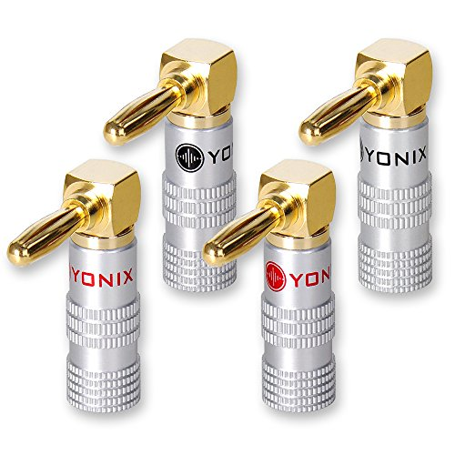 8 x Yonix High End Bananenstecker | abgewinkelt | vergoldet | BSY-645 (Hohl-post)
