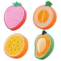 AZX 4 pcs Cute Fruit Sponges Different Shape Dish Sponge Cloth Kitchen Cleaning Accessories Decontamination Function