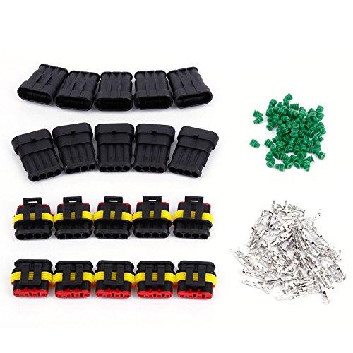 Preisvergleich Produktbild 4-polig Superseal Stecker Steckverbindung Wasserdicht Auto KFZ Boot 10 Set0, 3 - 0, 5 mm²