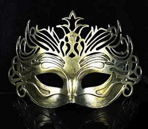 The Rubber Plantation TM 619219290227Römische filigranen Herren Gold Venezianischer Maskerade Maskenball Party Ball Fancy Kleid Kostüm Zubehör, Unisex, ONE SIZE (Kostüm Zubehör Römischen Erwachsenen)