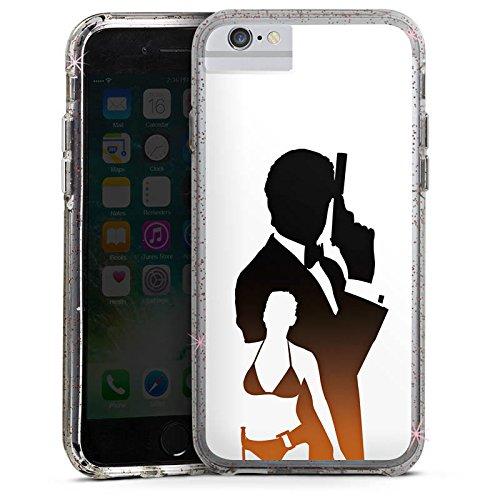 Apple iPhone 6s Bumper Hülle Bumper Case Glitzer Hülle James Bond Pierce Bumper Case Glitzer rose gold