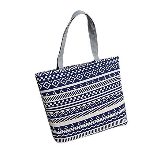 Longra Donne Moda semplice singola spalla Canvas Bag Portable Blu