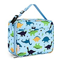 Bagmine Kids Toddler Lunch Bag, Insulated Lunch Box for Girls, Boys & Adults, Moisture Resistant Reusable Lunchbox with Multiple Patterns & Card Slot for for School, Picnic, Travel or Work (Dinosaur)