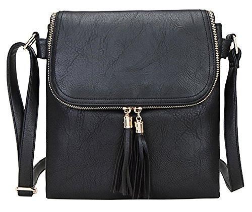 Big Handbag Shop - Borsa a tracolla da donna, di medie dimensioni, alla moda Design 5 - Black