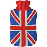 Hot Water Bottle With Union Jack Flag Jumper Cover New