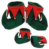 Christmas Red & Green Elf/ Santas Helper Boots Adults Fancy Dress Accessory
