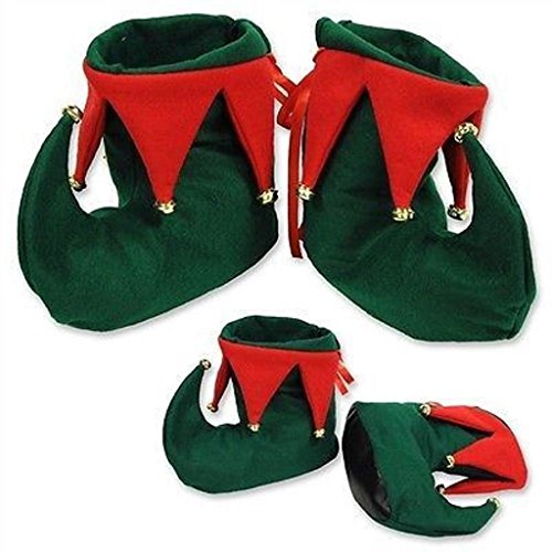 Christmas Red & Green Elf/ Santas Helper Boots Adults Fancy Dress Accessory (Elf Christmas Santas)
