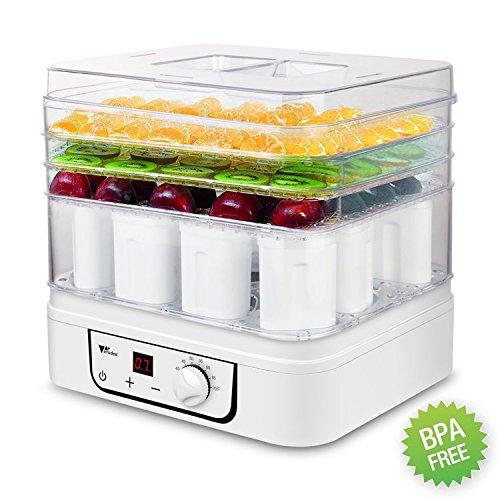 Dörrgerät & Joghurtmaschine Amzdeal 2 in 1 Dörrgerät & Joghurtmaschine mit Temperaturregelung 35-70°C und 72 Stunden Timer mit 4 Geschossen