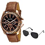 #4: Silver Kartz Chrono-Pattern Watch and Silver-Black Aviator Combo for Men & Boys (ws-52-4)