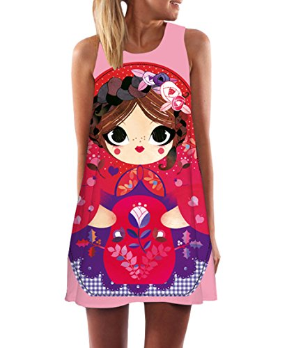 365-Shopping Damen Sommer Chiffon Kleider Sommerkleid Strandkleid Lose Minikleid Partykleider Top (XL (40-42), Typ 9)