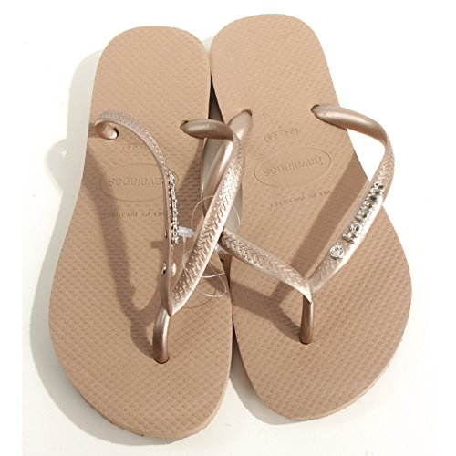Slim Metal Logo And Crystal - Rose Gold (Havaianas Crystal)