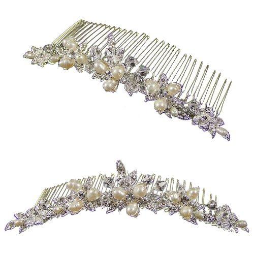 Hannah perle fleur mariage tiare Peigne (plaqué argent) (e2042hs)