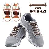 Homar No Tie Lacci per scarpe per bambini e adulti - Impermeabile in silicone elastico piatto Laces Athletic scarpa da corsa con multicolore per Scarpe Sneakerboots bordo e scarpe casual (Kid Size Brown)