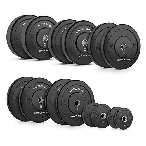 CAPITAL SPORTS Elongate Bumper Plate Hantelgewichte (Gewichtsscheiben für Langhantel, 50,4 mm Aufnahme, stoßabsorbierendes Hartgummi, Paar) verschiedene Gewichte von 2,5 -25 kg