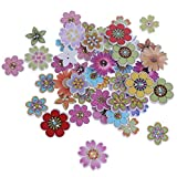 Baoblaze 50 Stück Blumen Holzknöpfe Knöpfe Nähen Knöpfe Basteln zum Selberaufnähen - Multi #3, 19-25 mm