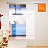 inova Glas-Schiebetür 880 x 2035 mm Streifen Design Alu Komplettset mit Lauf-Schiene und Griffknopf inkl. Softclose