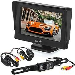 Telecamera Auto CARCHET - Kit Retromarcia Parcheggio Automatico, con Telecamera Impermeabile IP68 LED + Trasmettitore Ricevitore Wireless + Monitor, Visione Notturna