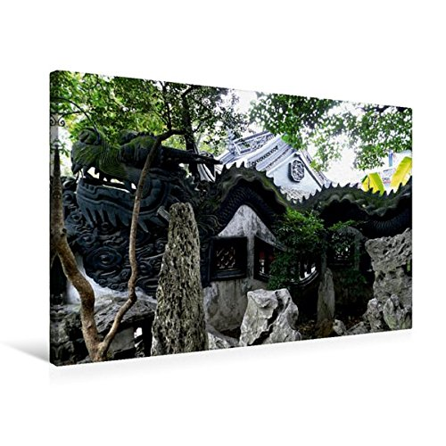 Premium Textil-Leinwand 75 cm x 50 cm quer, Der Drachen, Symbol für langes Leben | Wandbild, Bild auf Keilrahmen, Fertigbild auf echter Leinwand. Impressionen aus Shanghai (CALVENDO Orte)
