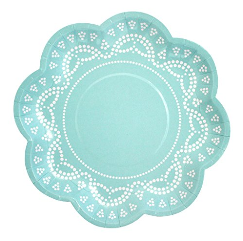 app-Teller mit Weißem Spitzen-Perlen-Muster in Mint-Grün (Picknick-party-thema)