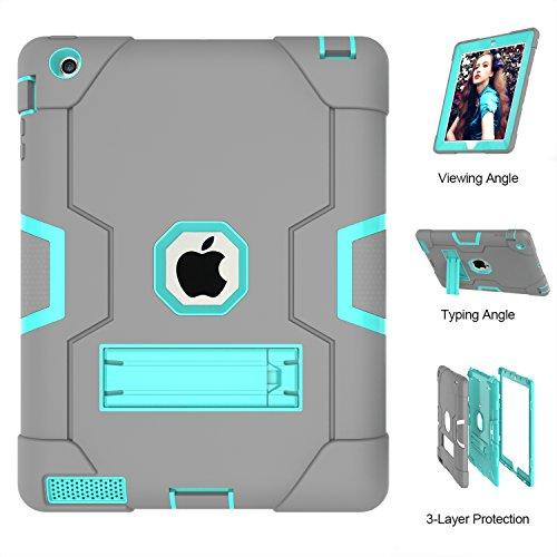 Case, iPad 4, uzer (Heavy Duty stoßfest Anti-Rutsch Silikon High Impact Resistant Hybrid Drei Schicht Armor Schutzhülle mit Standfuß für iPad 2/3/4, Gray+Aqua ()