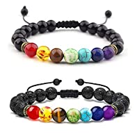 N/ A 2 PCS 8mm Lava Rock Stone Bracelet, 7 Chakras Healing Bracelet, Aromatherapy Essential Oil Diffuser Bracelet, Braided Rope Yoga Beads Bracelet Bangle for Women Men