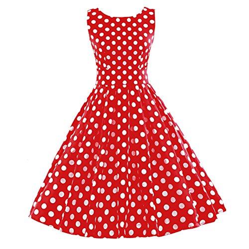 iLover Vintage 40s 50s 60s robe rayée Audrey Rockabilly Swing robe de fête de pique-nique Prix Promo-EU029-Rouge