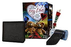 Valentine Gift - Love Greeting Card, Mens Wallet, Artificial Red Rose & Mens Tie With Gift Box