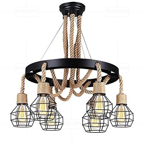 DSAEFG Industrielle Vintage-Stil Hanfseil Kronleuchter Schwarz Schmiedeeisen 6 * E27 Kopf Eisenkäfig Hängelampe Zimmer Restaurant Licht Hängelampen Leuchte [Energieklasse A ++] -