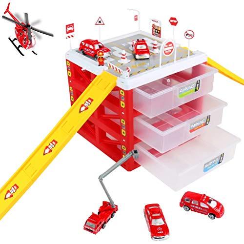Auto Parkhaus Parkgarage Kinder Feuerwehrauto Garage Spielzeug Rollenspielzeug Spielzeugaufbewahrung Geschenke für Kinder ab 3 4 Jahre