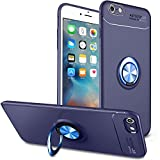 BtDuck Soft Ultra Slim Matt Dünn Silikon Hülle für iPhone 6S Plus Slim mit Metall Ring Handyhalterung Auto Magnet Ständer Schutzhülle Smartphone Halter Ständer Ringhalter Mädchen Hülle Blau