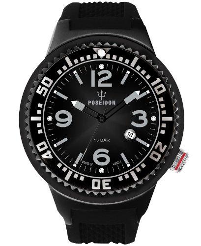 Poseidon-Kienzle - K2031043243-00387 - Montre Homme - Quartz Analogique - Cadran Noir - Bracelet Silicone Noir