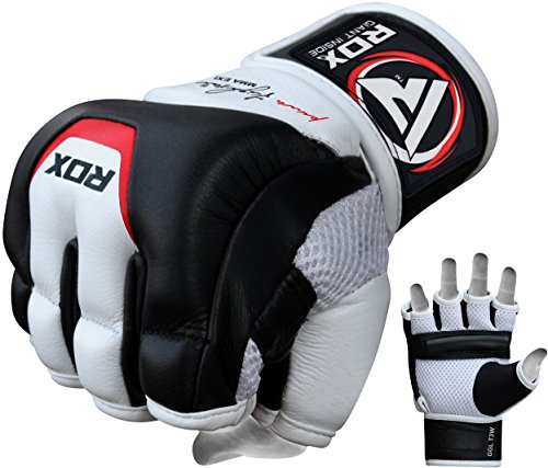 RDX Rindsleder MMA UFC Handschuhe Kamfsport Sandsackhandschuhe Sparring Grappling Trainingshandschuhe , Mehrfarbig (weiß/Schwarz), L