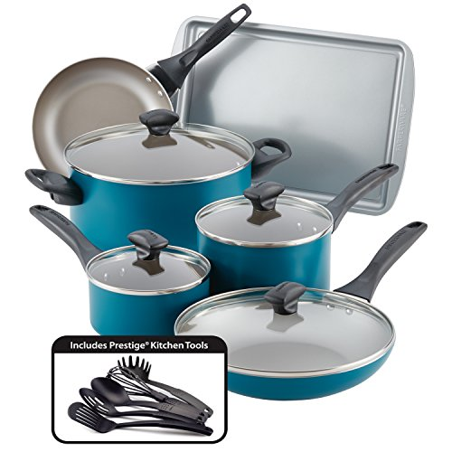 Farberware 20361 Nonstick Cookware Set, Aluminum, Teal